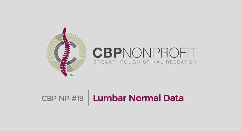 CBP NP #19: Lumbar Normal Data
