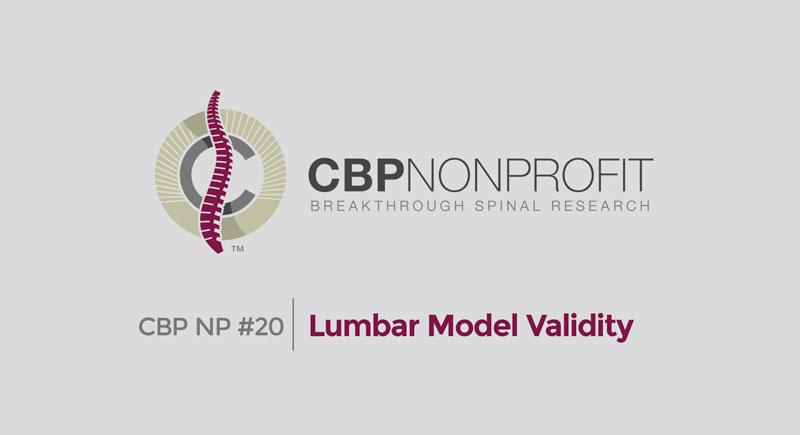 CBP NP #20: Lumbar Model Validity