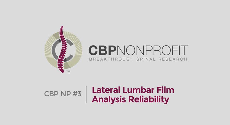 CBP NP #3: Lateral Lumbar Film Analysis Reliability
