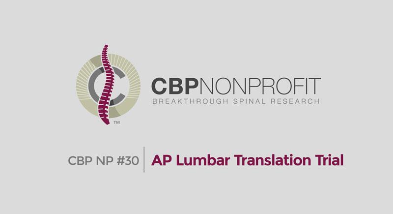 CBP NP #30: AP Lumbar Translation Trial